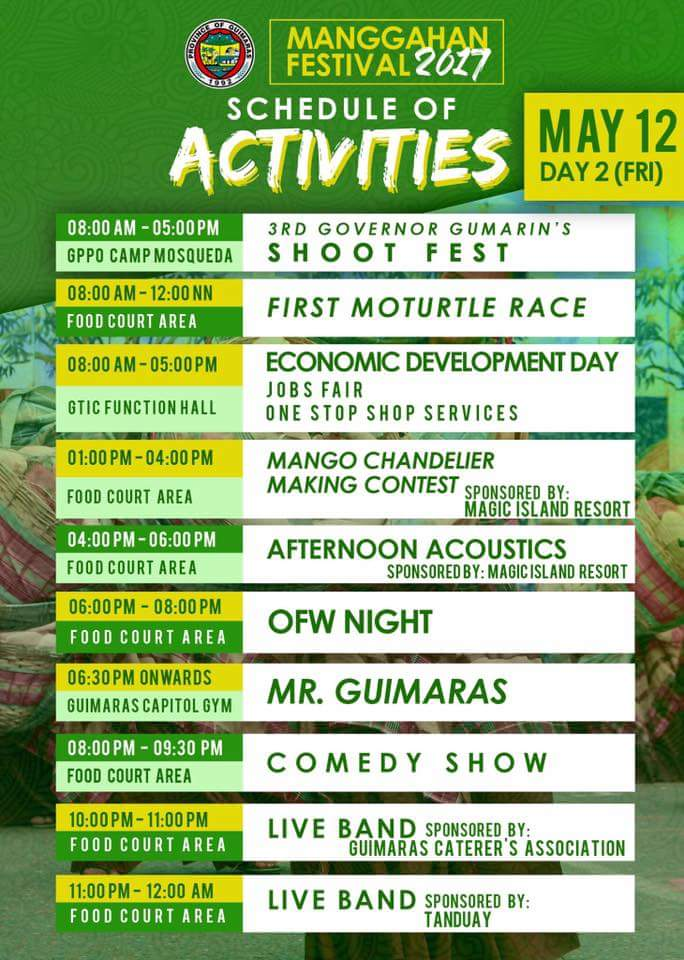 Manggahan Festival 2017 Schedule of Activities